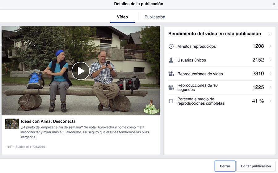 Nuevas estadísticas videos Facebook